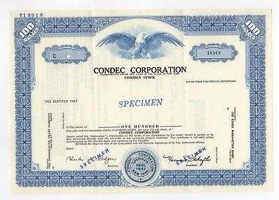 SPECIMEN - Condec Corporation Stock Certificate