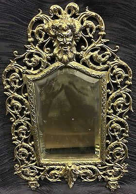 Vintage ATQ RARE Ornate Heavy Solid Brass Beveled Glass Mirror Gothic Man Face