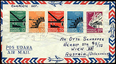 Indonesia 1959, 11th Columbus Plan Conf Set On Airmail Cover To Austria #C37170