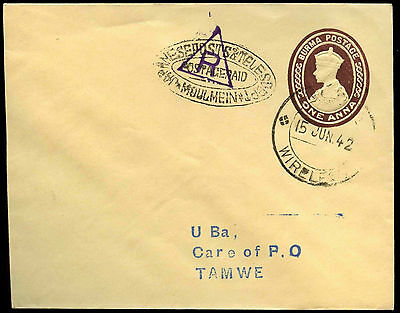 Burma Japanese Occupation 1942 Postage Paid & Triangle Handstamp Cover #C36596