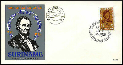 Suriname 1965 Abraham Lincoln FDC First Day Cover #C35500