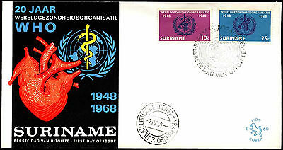Suriname 1968 WHO, World Health Organization FDC First Day Cover #C35516