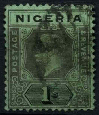 Nigeria 1921-32 SG#26, 1s Black/Green KGV Used #D32541