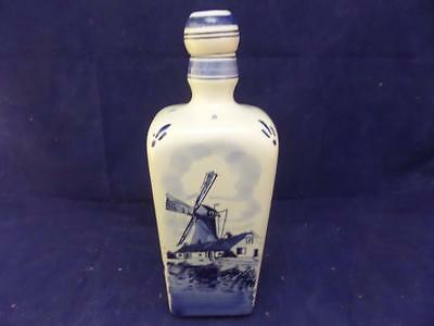 """Authentic Delft Blue Handmade in Holland bottle 8"""" tall with lid windmill B4"""