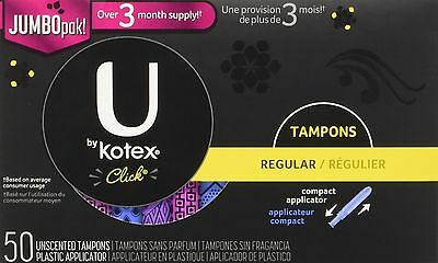 U By Kotex Click Tampons Regular Absorbency 50 Count , Free Shipping