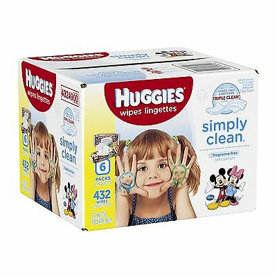 Huggies Simply Clean Fragrance Free Baby Wipes Retail 432 Count , Free Shipping