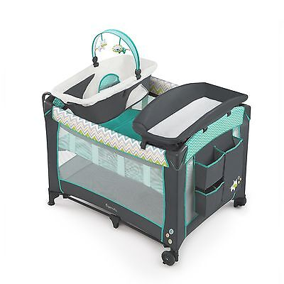 Ingenuity Smart and Simple Playard-Ridgedale Grey/Teal , Free Shipping