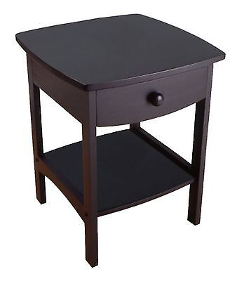 Winsome Wood End Table/Night Stand with Drawer and Shelf Black , Free Shipping