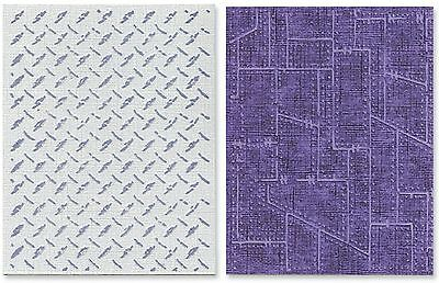 Sizzix Texture Fades Embossing Folders 2-Pack Diamond Plate a... , Free Shipping