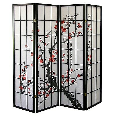 Ore International Black 4 Panel Plum Blossom Screen Room Divi... , Free Shipping
