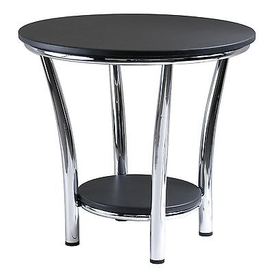 Winsome Wood Maya Round End Table Black Top Metal Legs , Free Shipping
