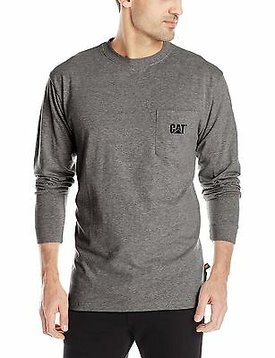 Caterpillar Men's Trademark Pocket Long Sleeve Tee Dark Heath... , Free Shipping