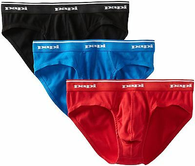 Papi Men's 3 Pack Low Rise Brief Red/Black/Blue Medium , Free Shipping