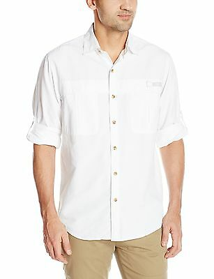 GH Bass Men's Long Sleeve Explorer Solid Shirt Bright White S... , Free Shipping