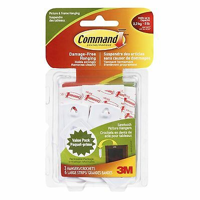 Command Sawtooth Picture Hanging Hooks 5 lb Capacity 3 Hanger... , Free Shipping
