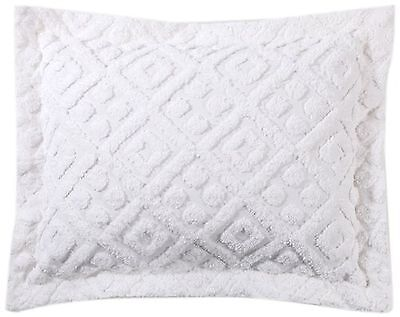 Stylemaster Diamond Tufted Chenille Sham Standard White , Free Shipping