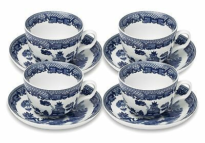 HIC Blue Willow Cup and Saucer Set of 4 , Free Shipping