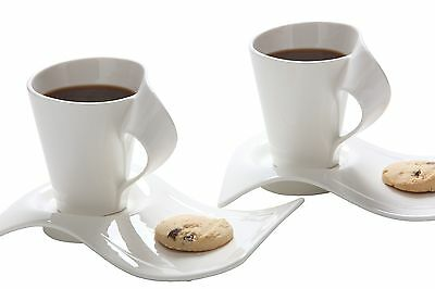 Melange La Jolla Cafe Service for 2 Mugs and Saucers Set of 2 , Free Shipping