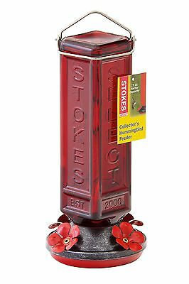 Stokes Select Red Glass Retro Collector's Hummingbird Feeder with Four Fe... New