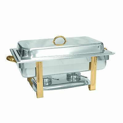 Excellante Stainless Steel 8-Quart Gold Accented Oblong Chafer New