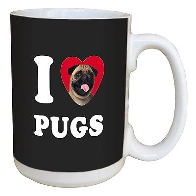 Tree-Free Greetings LM45106 I Heart Pugs Ceramic Mug with Full-Sized Hand... New