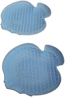 Dii Scale Fish-Shape Stoneware Serving or Accent Platter Lt. Ocean Blue New