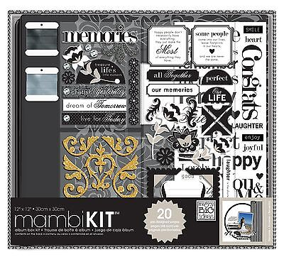 me & my BIG ideas 12-Inch x 12-Inch Scrapbooking Box Kit Black and White ... New