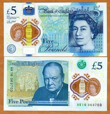 Great Britain 5 pounds, 2016, P-New QEII, Chirchill UNC   First Polymer