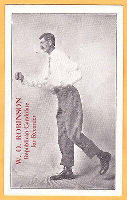 c1914 W. O. Robinson card, former circus Giant for Marion Co. IA Recorder RARE