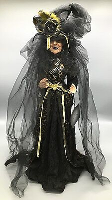 "Nicole Miller Halloween Black Gold Witch Wicca Bride Doll Designer Decor 23"" NEW"