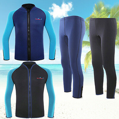 Men's 2mm Neoprene Dive Swimsuit Wetsuit Zipper Jacket Top Surf Suit Swimwear