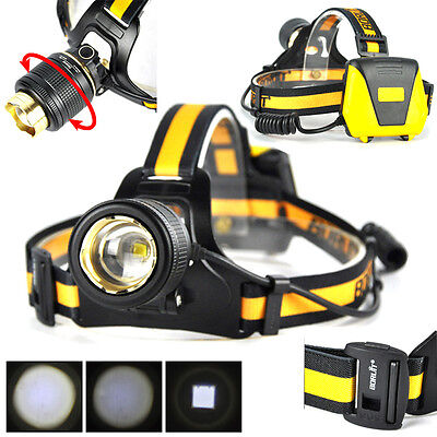 USB Rechargeable BORUIT 13000LM XM-L2 3 LED Headlamp Headlight Torch+18650+Charg