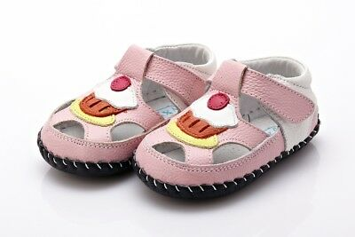 CUPCAKE Pink & White Soft Sole Girls Leather Shoe