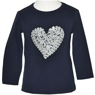 Baby Girls Navy Long Sleeve Shirt with Silver Heart