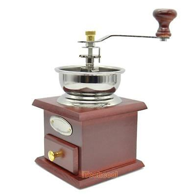 Vintage Manual Hand Crank Wooden Iron Metal Herb Burr Mill Spice Coffee Grinder