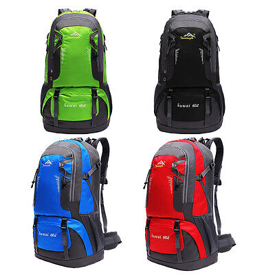 60L Waterproof Oxford Hiking Camping Backpacks Outdoor Sports Bag Rucksack Pouch