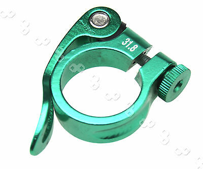 Mountain Bike Cycling Seat 31.8mm Green Alloy Quick Release Seat Post Clamp