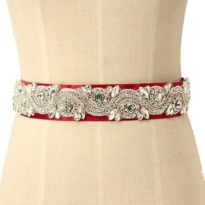 Tempting RED Bridal Wedding Dress Rhinestone Sash Belt Bride Diamond Ribbon