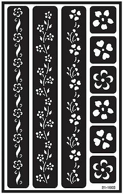 Armour Etch 21-1603 Over N Over Stencil Floral Borders New