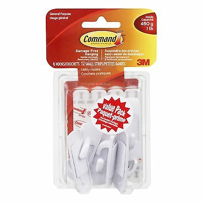 Command Small Hook Value Pack 1 lb Capacity 6 Hooks 12 Small Strips (1700... New