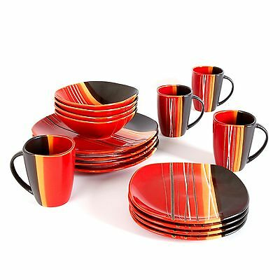 Gibson Home Trends 61590.16rm Bazaar Red 16-Piece Square Dinnerware Set R... New