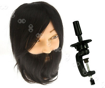 100% Real Human Hair Beard Hairdressing Training Head Mannequin with Clamp Stand