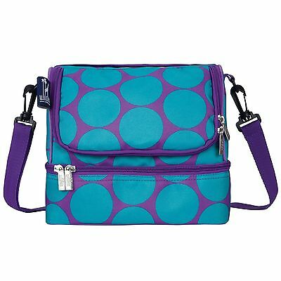 Wildkin Big Dots Double Decker Lunch Bag Aqua New