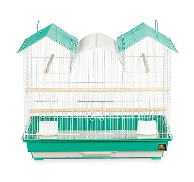 Prevue Hendryx SP1804TR-2 Triple Roof Bird Cage Teal and White Black New