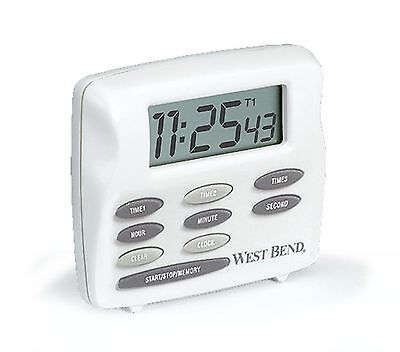 West Bend 40053 Triple Timer with Clock White 1 New