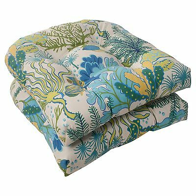 Pillow Perfect Indoor/Outdoor Splish Splash Wicker Seat Cushion Blue Set ... New