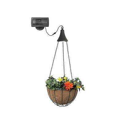 Gama Sonic Solar-Charged LED Light with Attachable Hanging Planter Basket New