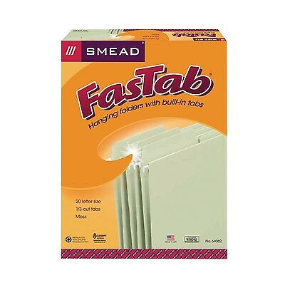 Smead Hanging FasTab Folder Letter 1/3 Cut Tab Moss 20-Pack New