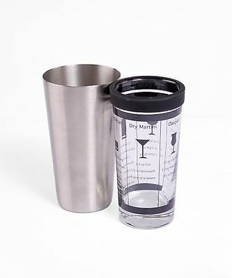 Oenophilia Stainless Steel and Glass Boston Shaker 16-Ounces New