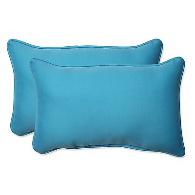 Pillow Perfect Outdoor Veranda Turquoise Rectangular Throw Pillow Set of 2 New